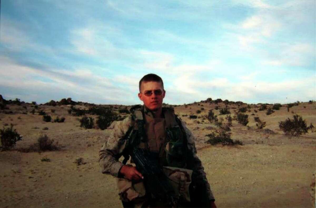 Cpl. Jordan Pierson of Milford, Conn. on patrol in Iraq.