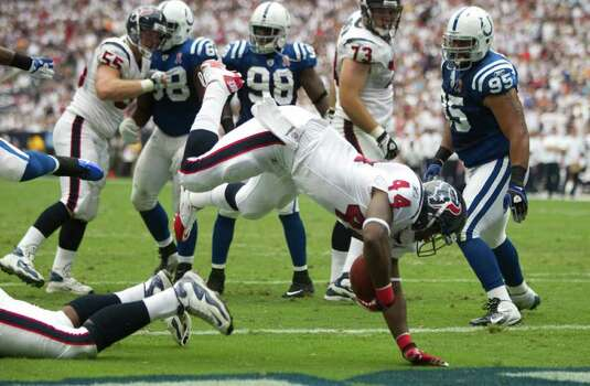 Houston Texans running back Ben Tate (44) dives into the end zone for a touchdown against the Indianapolis Colts during the first quarter of an NFL football game at Reliant Stadium Sunday, Sept. 11, 2011, in Houston. Photo: Brett Coomer, Houston Chronicle / © 2011 Houston Chronicle