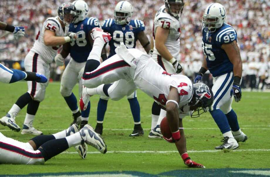 Sept. 11: Texans 34, Colts 7.Texans running back Ben Tate (44) dives into the end zone for a touchdown during the first quarter. Photo: Brett Coomer, Houston Chronicle / © 2011 Houston Chronicle