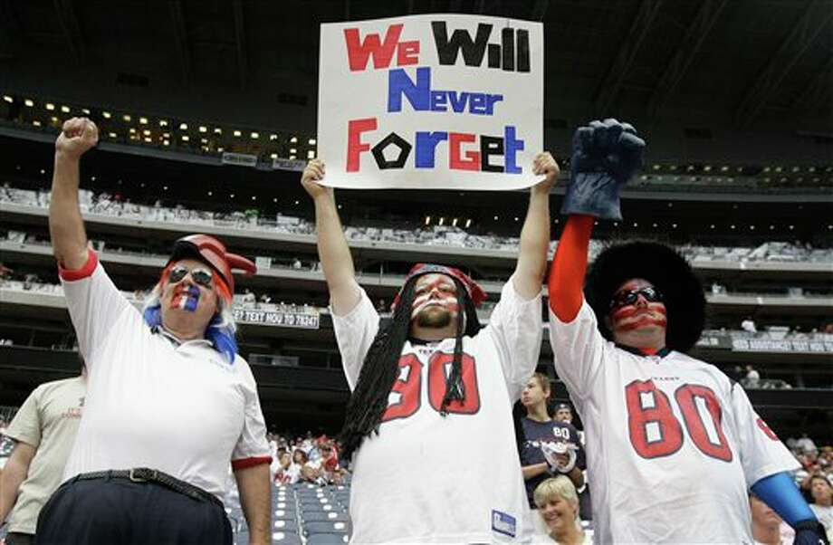 Houston Texans fans before an NFL football game against the Indianapolis Colts Sunday, Sept. 11, 2011, in Houston. (AP Photo/Eric Gay) Photo: Associated Press
