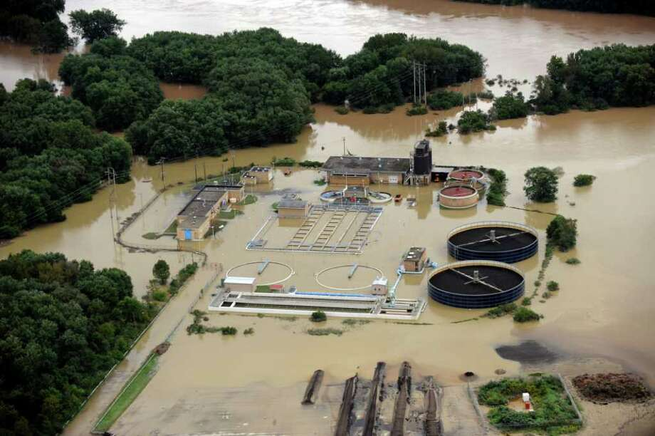 View of flood damaged areas by seen by helicopter in the City of Binghamton and the Southern Tier in Binghamton, N.Y., Friday, Sept. 9, 2011. (AP Photo/Hans Pennink) Photo: Hans Pennink