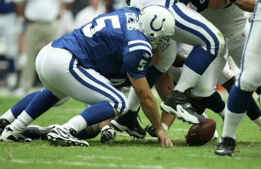Indianapolis Colts quarterback Kerry Collins (5) chases a fumble against the Houston Texans during the first quarter of a NFL game, Sunday, Sept. 11, 2011, at Reliant Stadium in Houston. Photo: Nick De La Torre, Houston Chronicle / © 2011 Houston Chronicle