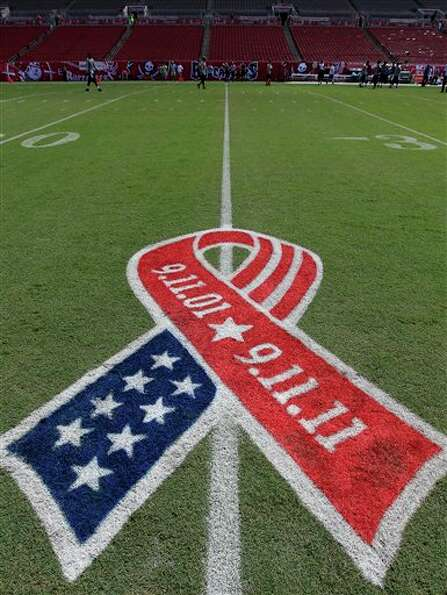 A painting on the field honoring the 10th anniversary of the Sept. 11 attacks is shown asTampa Bay B