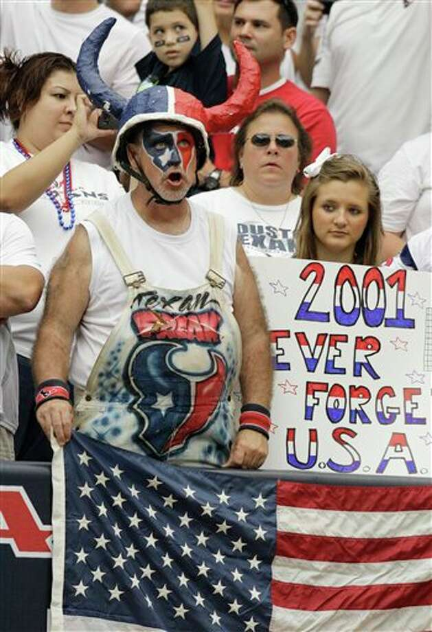 Houston Texans fans before an NFL football game Sunday, Sept. 11, 2011, in Houston.  (AP Photo/Eric Gay) Photo: Associated Press