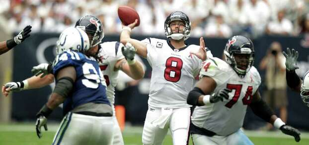 Houston Texans quarterback Matt Schaub (8) pass over the Indianapolis Colts defense during the third quarter of an NFL football game at Reliant Stadium Sunday, Sept. 11, 2011, in Houston. The Texans beat the Colts 34-7. Photo: Brett Coomer, Houston Chronicle / © 2011 Houston Chronicle