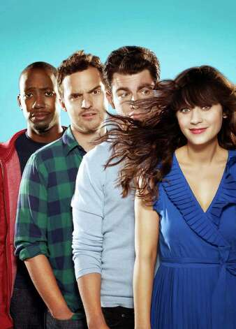 "Zooey Deschanel's character in ""New Girl"" has a profound effect on her roommates, played by (from left) Lamorne Morris, Jake Johnson and Max Greenfield. Photo: FOX"