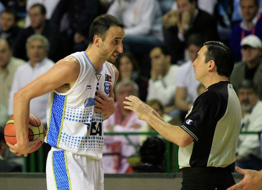 Argentina's Manu Ginobili reacts to a referee's call during a FIBA Americas Championship semi-final basketball game against Puerto Rico in Mar del Plata, Argentina, Saturday Sept. 10, 2011. Photo: Martin Mejia/Associated Press