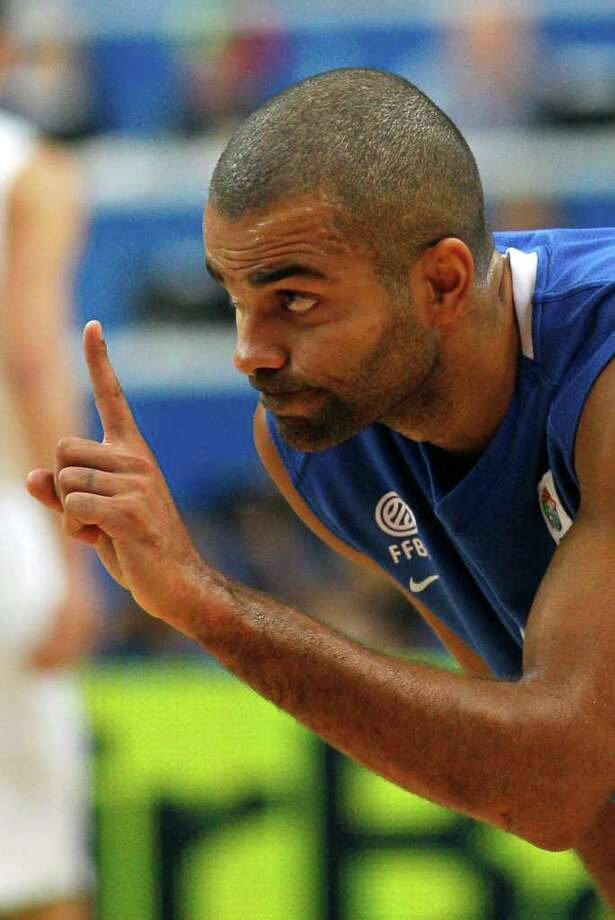 France's Tony Parker reacts during their EuroBasket European Basketball Championship Group E match against Lithuania, in Vilnius, Lithuania, Friday Sept. 9, 2011. Photo: Darko Vojinovic/Associated Press / AP