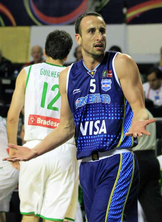 Argentina's Manu Ginobili reacts to a referee's call during a FIBA Americas Championship first place basketball game against Brazil in Mar del Plata, Argentina, Sunday Sept. 11, 2011. Argentina went on to defeat Brazil 80-75. Photo: Martin Mejia/Associated Press