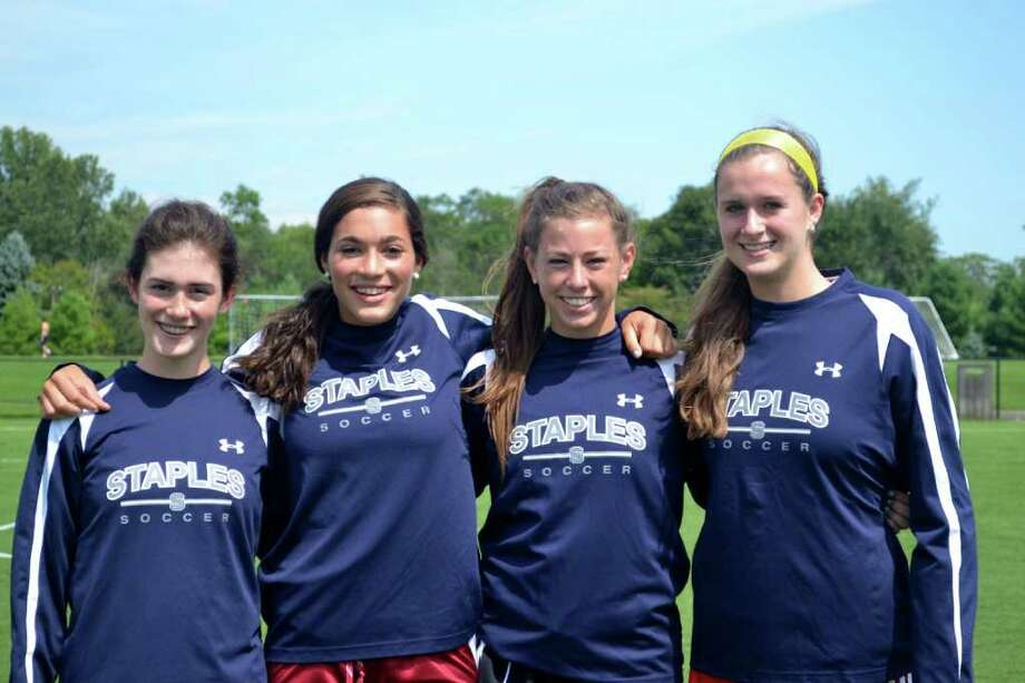 From left, Staples girls soccer senior quad-captains Shannon Lesch, Abbey Lake, Jessie Ambrose and Abby Fagan are optimistic that the Lady Wreckers will equal or better last year's performance. Photo: Contributed Photo