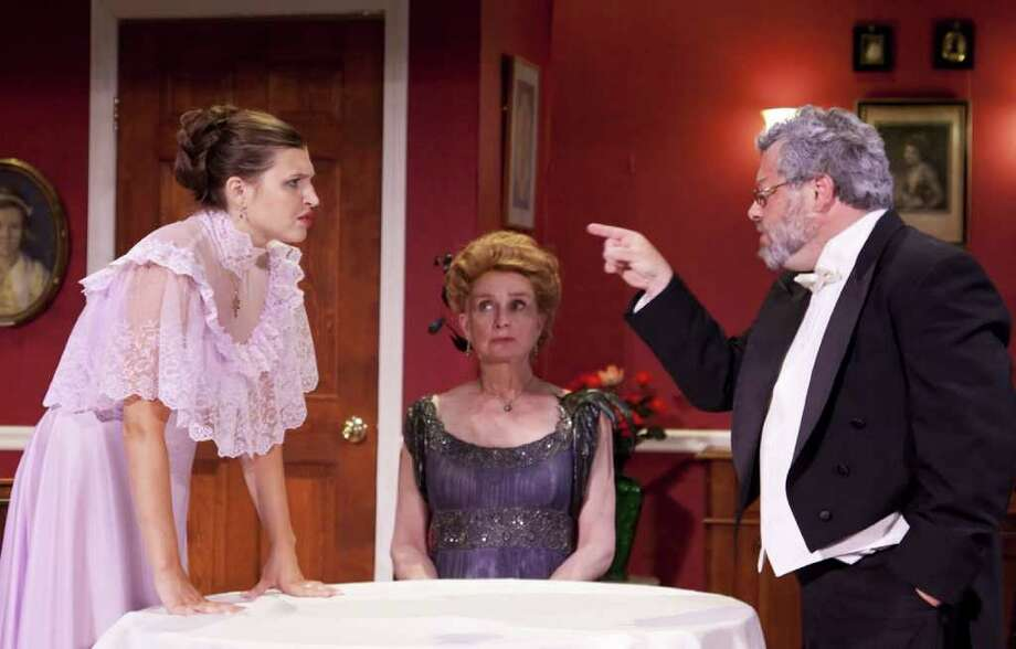 """Left to right in """"The Inspector Calls"""" are Quinn Uniacke, Katherine Almquist, and Robin Frome. The show is being presented at The Sherman Playhouse. Photo: Contributed Photo"""
