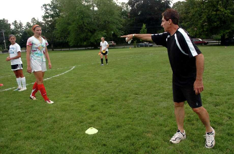 Head Coach Tony Samulien during girls soccer practice at Fairfield Ludlowe in Fairfield, Conn. on Thursday September 1, 2011. Photo: Christian Abraham / Connecticut Post