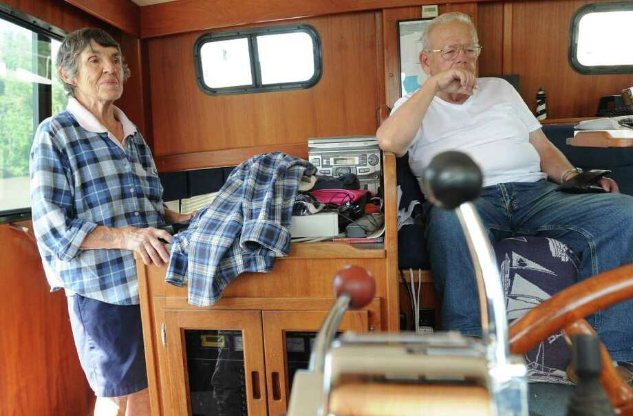 Barb and Milt Bloomer of Daytona Beach, FLA on their sail boat docked at Lock 3 in Waterford, N.Y. Monday, Sept. 12, 2011. (Lori Van Buren / Times Union) Photo: Lori Van Buren