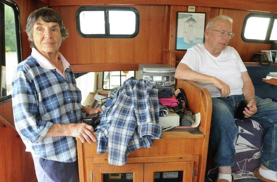Barb and Milt Bloomer of Daytona Beach, FLA on their sail boat docked at Lock 3 in Waterford, N.Y. Monday, Sept. 12, 2011. (Lori Van Buren / Times Union) Photo: Lori Van Buren