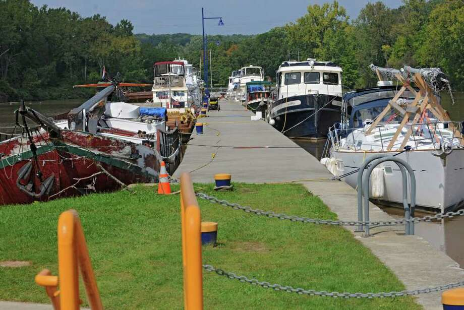 Boats docked at Lock 3 in Waterford, N.Y. Monday, Sept. 12, 2011. (Lori Van Buren / Times Union) Photo: Lori Van Buren