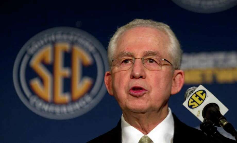 Southeastern Conference Commissioner Mike Slive says the conference is optimistic about the Aggies joining. (AP Photo/Dave Martin) Photo: Dave Martin / AP
