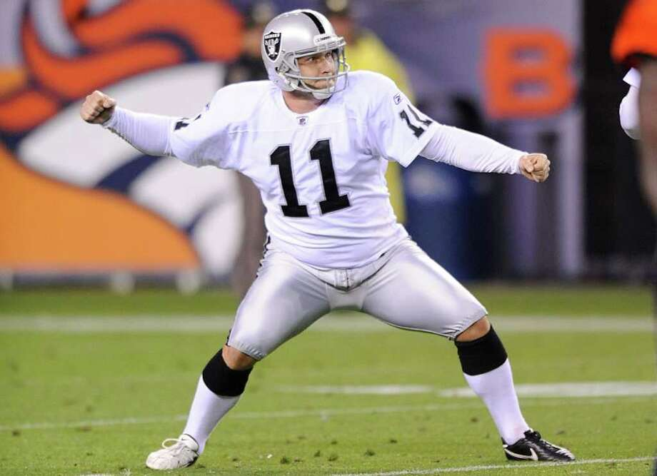 Sept. 12: Raiders 23, Broncos 20. Oakland kicker Sebastian Janikowski  tied an NFL record with a 63-yard field goal at the end of the first half. Photo: Jack Dempsey, Associated Press / FR42408 AP