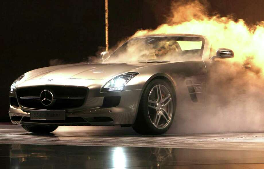 The Mercedes-Benz SLS AMG roadster is presented at the 64th Frankfurt Auto Show in Frankfurt, Germany, Tuesday, Sept.13, 2011. The fair opens its doors to the public from Sept. 15 through Sept. 25, 2011. (AP Photo/Michael Probst) Photo: Michael Probst / AP
