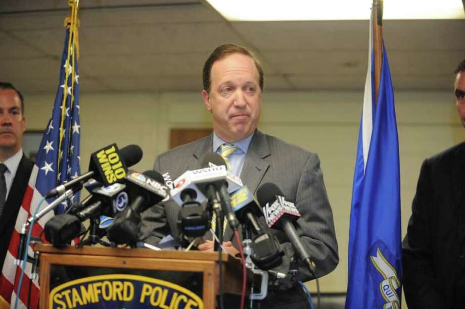 Connecticut U.S. Attorney David B. Fein speaks at the news conference Tuesday, Sept.13, 2011, at the Stamford Police Department on Bedford Street to announce the arrests of 20 people in a drug trafficking ring that smuggled tens of thousands of prescription painkillers through Florida and Westchester County airports. Photo: Helen Neafsey / Greenwich Time