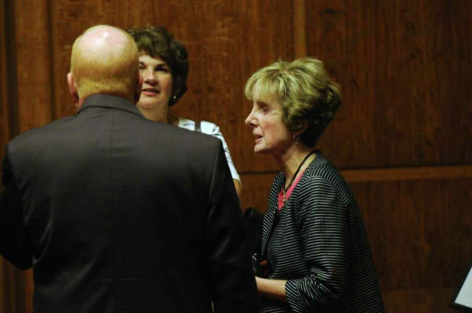 Joan Porco, right, waits to enter the State Court of Appeals chamber before the appeal on her son Christopher's murder and attempted murder conviction,  on Tuesday Sept. 13, 2011 in Albany, NY.( Philip Kamrass / Times Union) Photo: Philip Kamrass / 00014607A