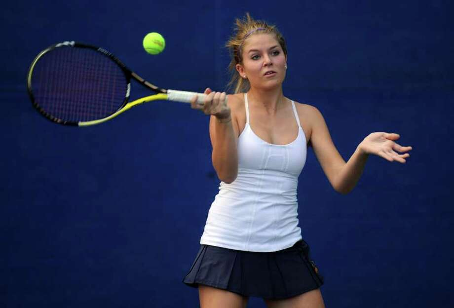 Caroline  Toutoungi was a force at doubles for Weston and is striving to get playing time for Saint Michael's College. Photo: Autumn Driscoll / Staff Photographer