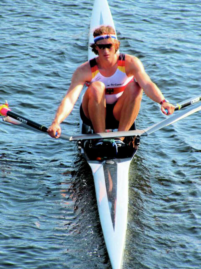 Max Meyer-Bosse works the water as a member of Saugatuck Rowing Club. Meyer-Bosse took fourth in singles and fourth in doubles at the National championships is on Harvard University's crew team. Photo: Contributed Photo