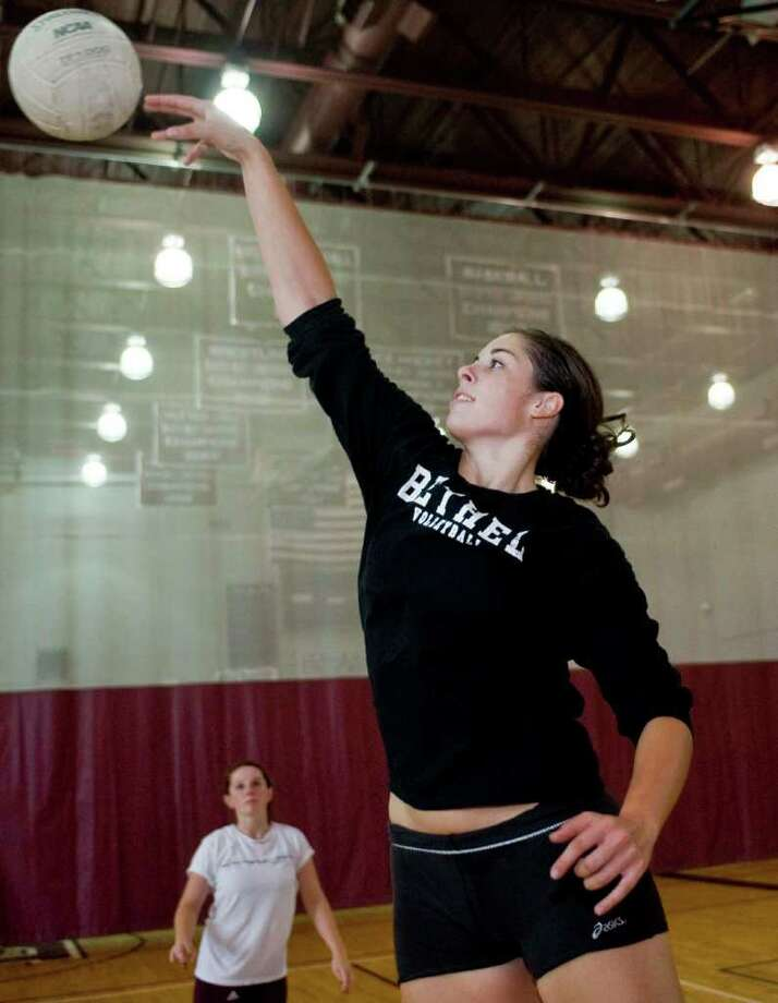 Volleyball player Madison Duffy, a Bethel High School senior, during a team practice. Monday, Sept. 12, 2011 Photo: Scott Mullin / The News-Times Freelance
