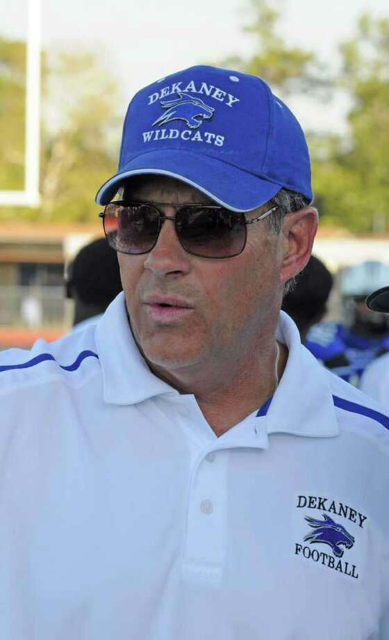 Dekaney football head coach Willie Amendola. Dekaney improved to 3-0 on the season with a 41-14 home win against College Park on Sept. 10, 2011 at George Stadium. Photo: L. Scott Hainline / freelance