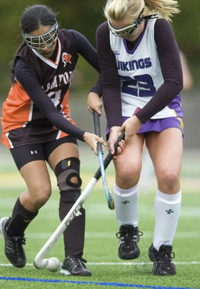 Stamford's Kelsey Cognetta, left, and Westhill's Allison Macari, right, are two of the top players in the FCIAC. Photo: Chris Preovolos