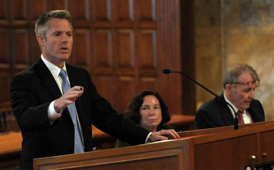 Christopher Horn, an attorney who handles appeals for the Albany County District Attorney's office, presents the oral argument on behalf of prosecutors seeking to sustain Christopher Porco's murder and attempted murder conviction, to the justices of the New York State Court of Appeals  on Tuesday Sept. 13, 2011 in Albany, NY. Defense attorneys Laurie Shanks and  Terence L. Kindlon are at center, and at lower right. ( Philip Kamrass / Times Union) Photo: Philip Kamrass / 00014607A