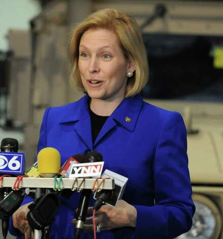Sen. Kirsten Gillibrand talks about national security while visiting the 42 Infantry Division Base in Troy, N.Y. April 1, 2011. (Lori Van Buren / Times Union) Photo: Lori Van Buren / 00012615A