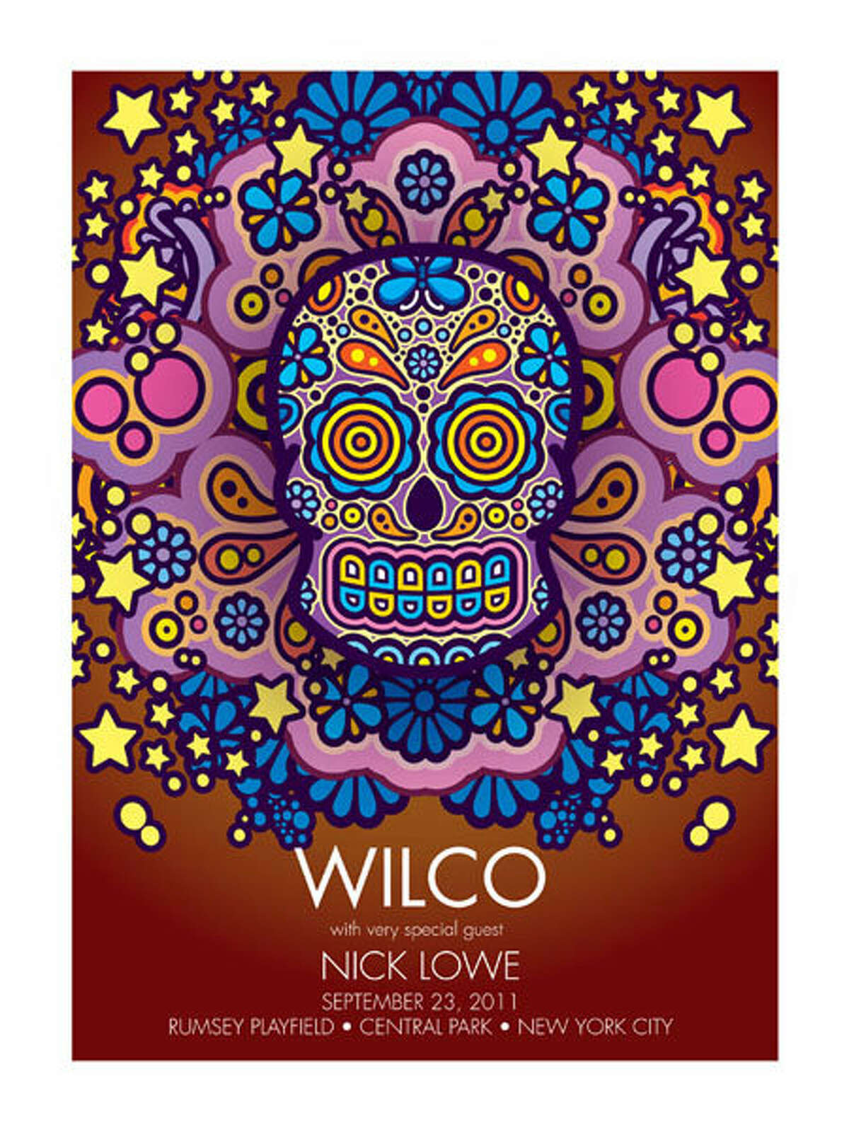 image of a poster for a show by rock band Wilco by local artist Uncle Charlie Hardwick
