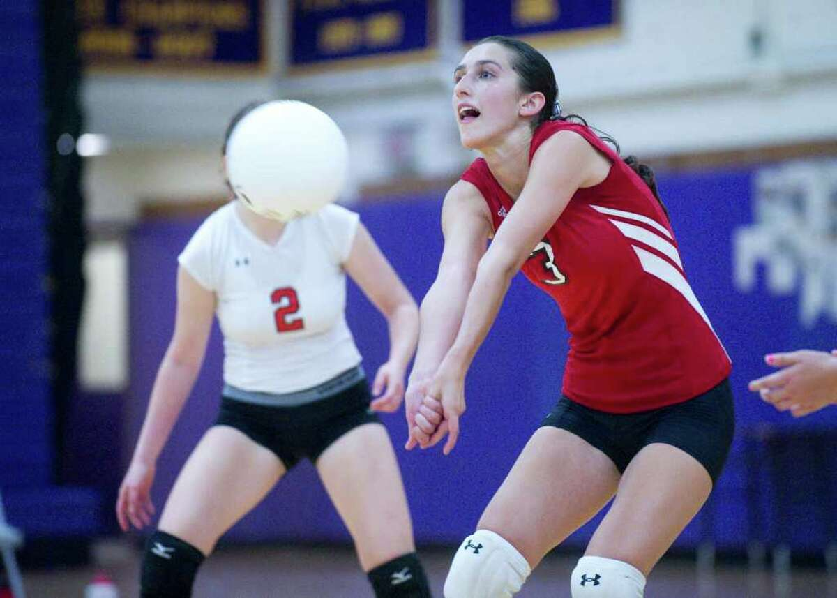 Greenwich's Chloe Griffasi in action as Westhill High School hosts Greenwich High in a girls volleyball match in Stamford, Conn., September 14, 2011. Greenwich won the match.