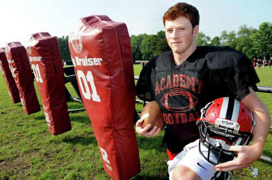 Albany Academy quarterback Conner Hartigan, 17, on Wednesday, Sept. 14, 2011, at Albany Academy in Albany, N.Y. (Cindy Schultz / Times Union) Photo: Cindy Schultz