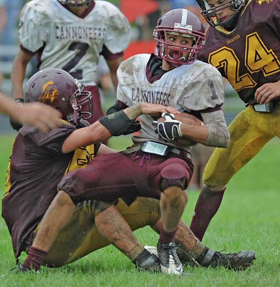 Watervliet's Jordan Gleason runs with the ball during a high school football game against Fonda in Fonda, N.Y. on Monday, Sept. 5, 2011. (Lori Van Buren / Times Union) Photo: Lori Van Buren / 00014467A