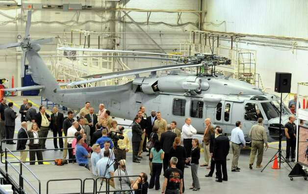 Sikorsky Aircraft and the U.S. Navy celebrate the delivery of the 100th Sikorsky-built MH-60R Seahawk helicopter and the near completion of the 200th MH-60S Seahawk helicopter at their headquarters in Stratford, Conn. Wednesday, April 27, 2011. Photo: Autumn Driscoll, ST / Connecticut Post