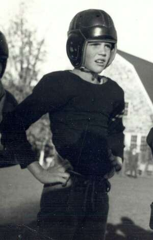 A Greenwich youngster sports his leather helmet back in 1946. Photo: Contributed Photo