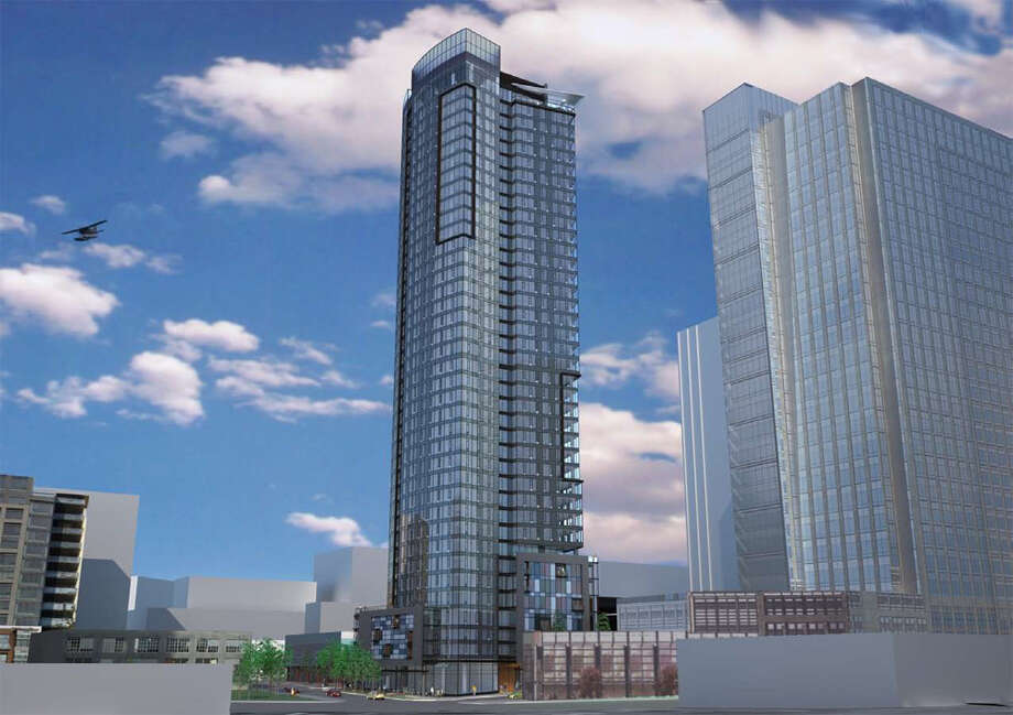 A rendering of a proposed 400-foot tower at 2030 8th Ave. approved by the city. (Image by Weber Thompson, courtesy city of Seattle)