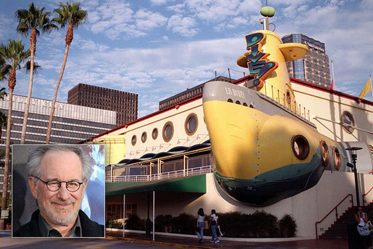 Steven Spielberg Business: Dive! Restaurant The brainchild of director Steven Spielberg and Dreamworks CEO Jeffrey Katzenberg, Dive! was a submarine-themed restaurant in the shape of a neon-yellow submersible. The restaurant's visitors were surrounded by metal catwalks, pressure gauges, and torpedo-shaped seats. Every half-hour, the restaurant would simulate a