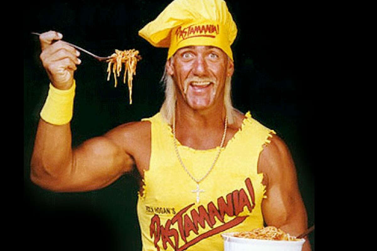 """Hulk Hogan Business: Pastamania Although he missed out on the opportunity to put his face on the """"George Forman"""" grill, Hulk Hogan was looking for a business opportunity, and unfortunately he settled on Pastamania, a fast-food restaurant in the Mall of America. Customers were given the opportunity to feast on a variety of pasta-based items, including """"Hulk-U's"""" and """"Hulk-a-Roos."""" The restaurant was even promoted through World Championship Wrestling, but no amount of marketing could keep the business from closing its doors less than a year after opening. Hogan hasn't given up on being an entrepreneur. Since then, he has launched his own energy drink, Hogan Energy, and has also attached his name to a line of microwavable hamburgers and chicken sandwiches called """"Hulkster Burgers.""""Other popular stories on CNBC: Child Star Successes How Rich Are The British Royals? Celebs Who Rebounded After Rehab"""