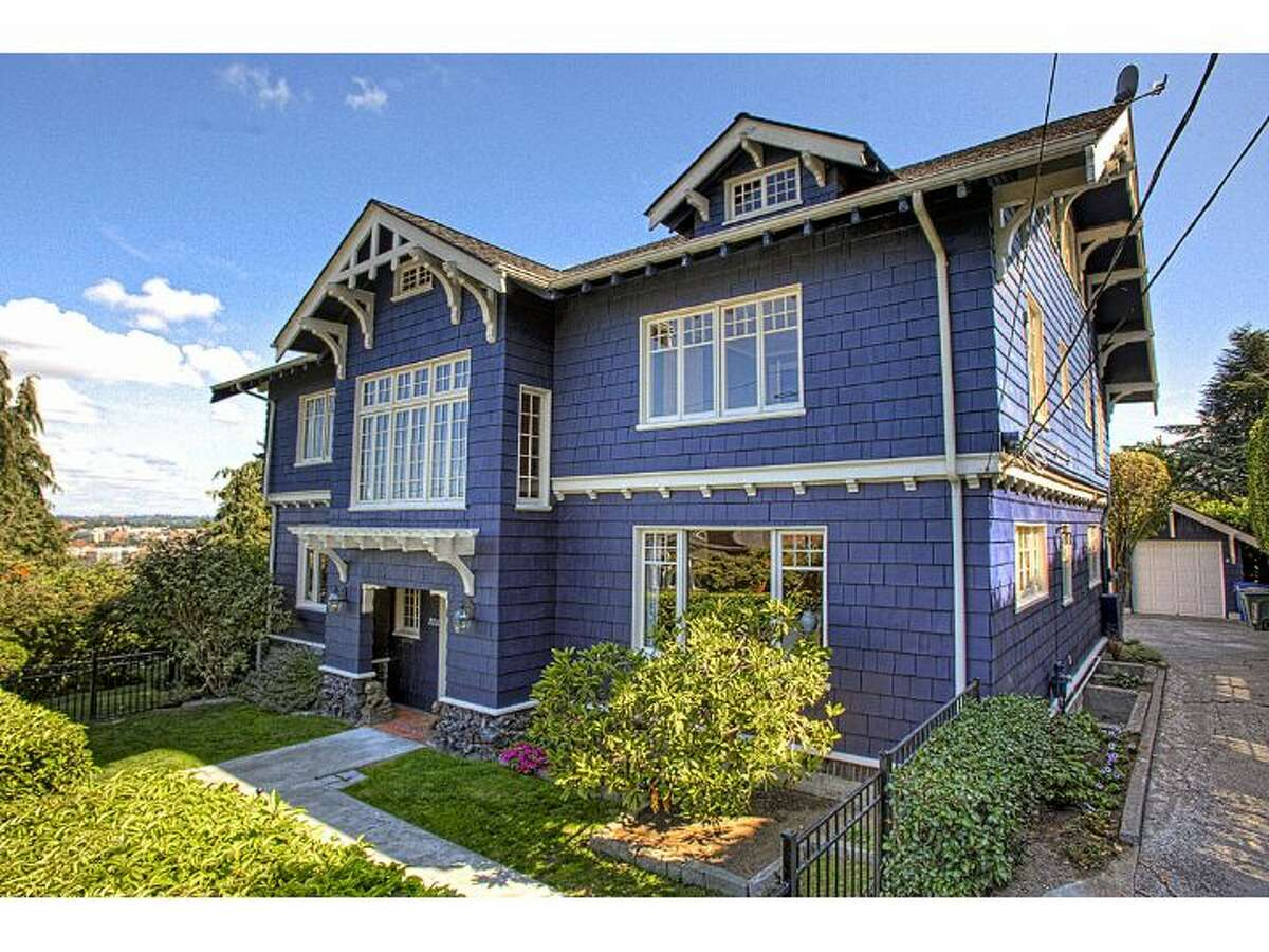 Here's a huge, grand 1918 Craftsman mansion on Capitol Hill, at 2212 Everett Ave. E. The 5,910-square-foot house has five bedrooms and four bathrooms, including a master suite with a fireplace, deck, walk-in closet and marble bathroom. There's tons of exposed wood moldings, paneling and beams, French doors, leaded glass and many cool rooms and spaces, many of which offer views of Interlaken Park and Portage Bay. The 9,000-square-foot lot includes terraced patios and a two-car garage. It's listed for $2.295 million.