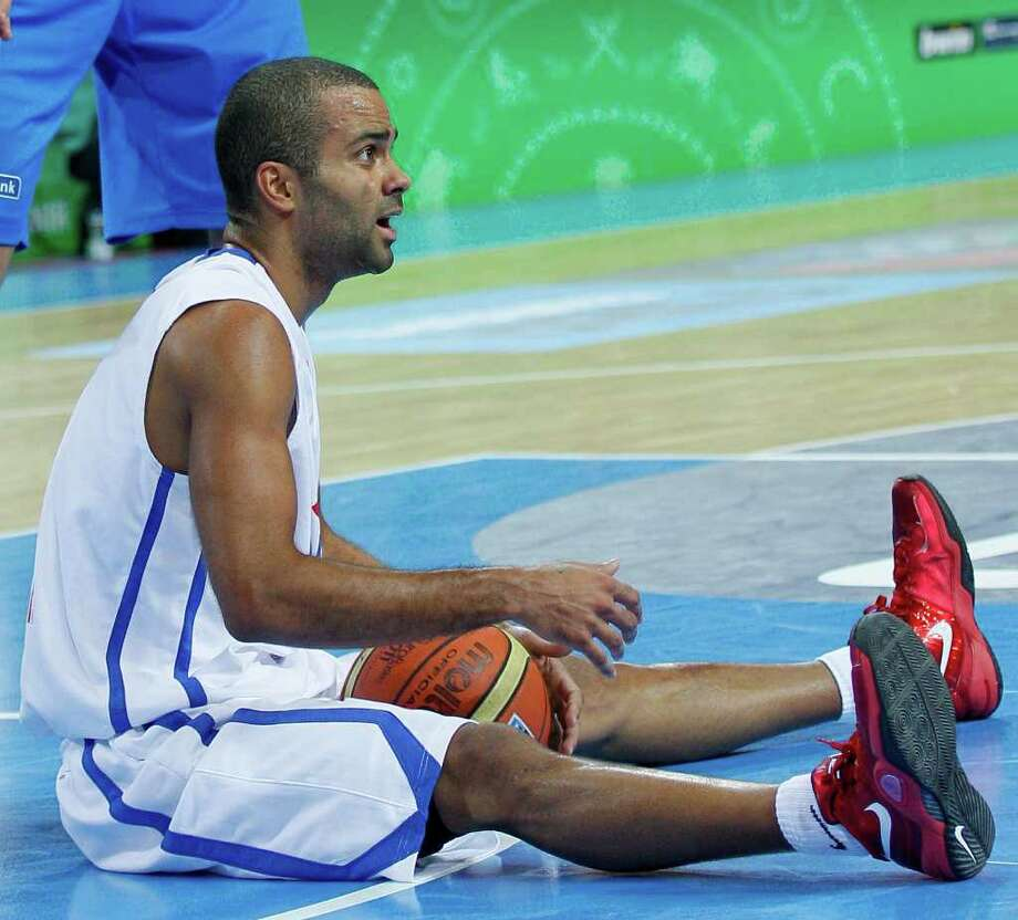 France's Tony Parker reacts during their quarter final EuroBasket European Basketball Championship match against Greece, in Kaunas, Lithuania, Thursday Sept. 15, 2011. Photo: Darko Vojinovic, Darko Vojinovic/Associated Press / AP