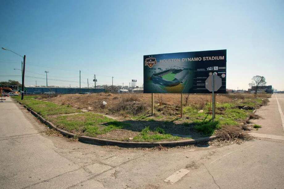 TODD SPOTH: FOR THE CHRONICLE IN THE BEGINNING: The future site of the Dynamo's new stadium is seen on March 2, the first day of construction. The stadium is expected to be completed by May 5 of next year. Photo: TODD SPOTH / Freelance