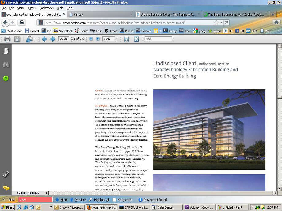 Screen grab from an EYP design brochure which features artist renderings of a project believed to be the new Nano Science and Engineering building at University at Albany. (EYP design website)