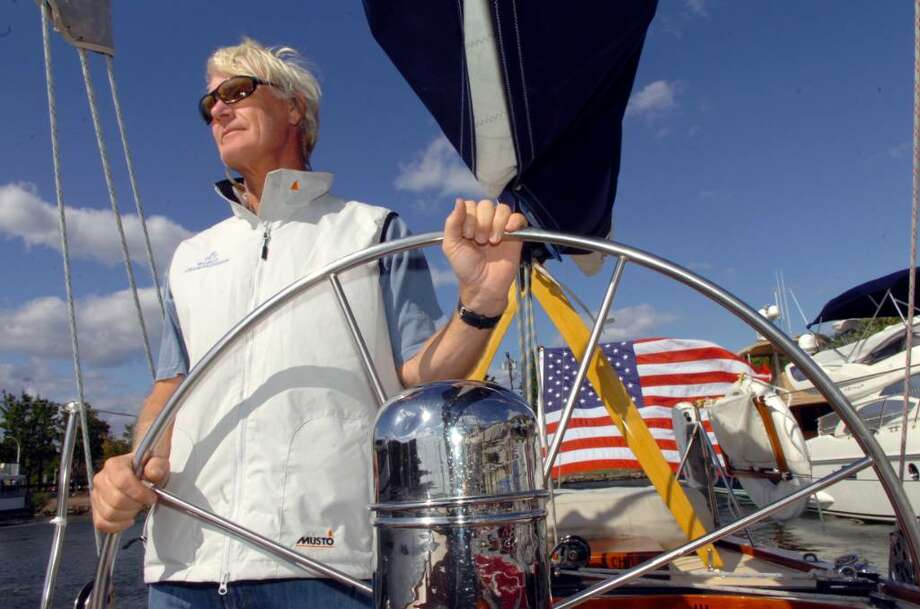 "Greenwich, Oct. 7, 2009.  George Hill, from Newport,  on his sail boat ""Weatherly"", an American Cup 12m Yacht, ready for the races tomorrow in Greenwich. Photo: Helen Neafsey / Greenwich Time"