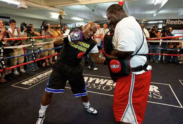 Floyd Mayweather works out in the ring at his gym, Tuesday, Sept. 6, 2011, in Las Vegas. Mayweather will fight Victor Ortiz on Sept. 17 for the WBC World Welterweight championship. Photo: AP