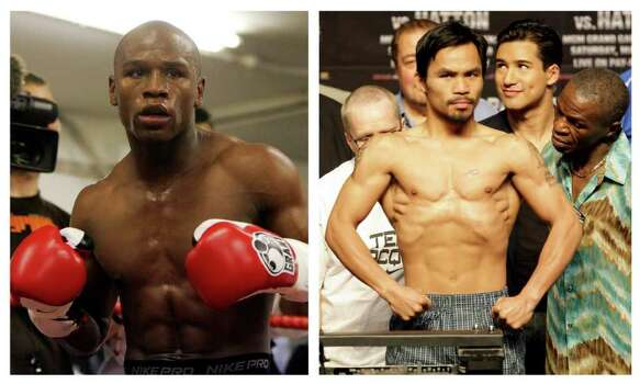 FILE - In this combination of file photos, U.S. boxer Floyd Mayweather Jr., left, prepares to spar at a gym in east London on May 22, 2009, and Manny Pacquiao, right, of the Philippines, weighs in for the junior welterweight boxing match against British boxer Ricky Hatton, May 1, 2009, in Las Vegas. The March 13 , 2010 megafight between Manny Pacquiao and Floyd Mayweather Jr. has been thrown into jeopardy. Mayweather's camp is demanding the fighters submit to Olympic-type drug testing in the weeks leading up to the bout. Leonard Ellerbe, Mayweather's manager, says the fight will not go on if Pacquiao doesn't agree to blood testing under standards followed by the United States Anti-Doping Agency. Photo: AP