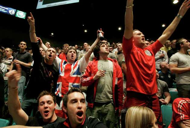 British fans cheer for Ricky Hatton, of Britain, before an official weigh-in ceremony in Las Vegas, Friday, Dec. 7, 2007. Hatton will fight WBC welterweight champion Floyd Mayweather Jr. on Saturday. Photo: Jae C. Hong, AP / AP