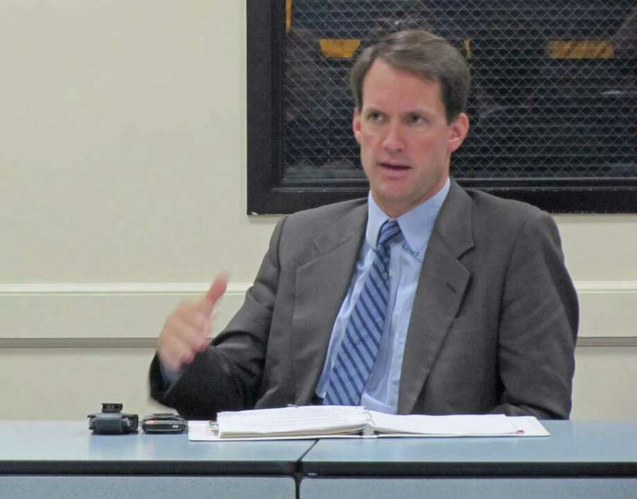 Congressman Jim Himes (CT-4) met with his flood advisory committee Friday morning at the Emergency Operations Center at the Fairfield Police Department. Discussion focused largely on the ways affected homeowners, renters and businesses can attain financial assistance. Photo: Kirk Lang / Fairfield Citizen