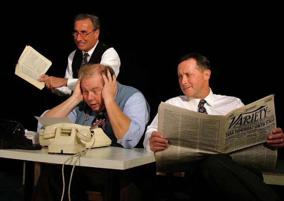 From left, Bob Filipowich, Rick Waln and John Bachelder in a scene from the Westport Community Theatreís production of the Hollywood farce ìMoonlight and Magnolias.ì The show opens Friday night. Sept. 16, in the Westport Town Hall theater. Photo: Contributed Photo